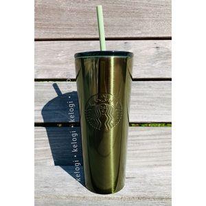 NEW RARE Fall Starbucks Metallic Green Cup
